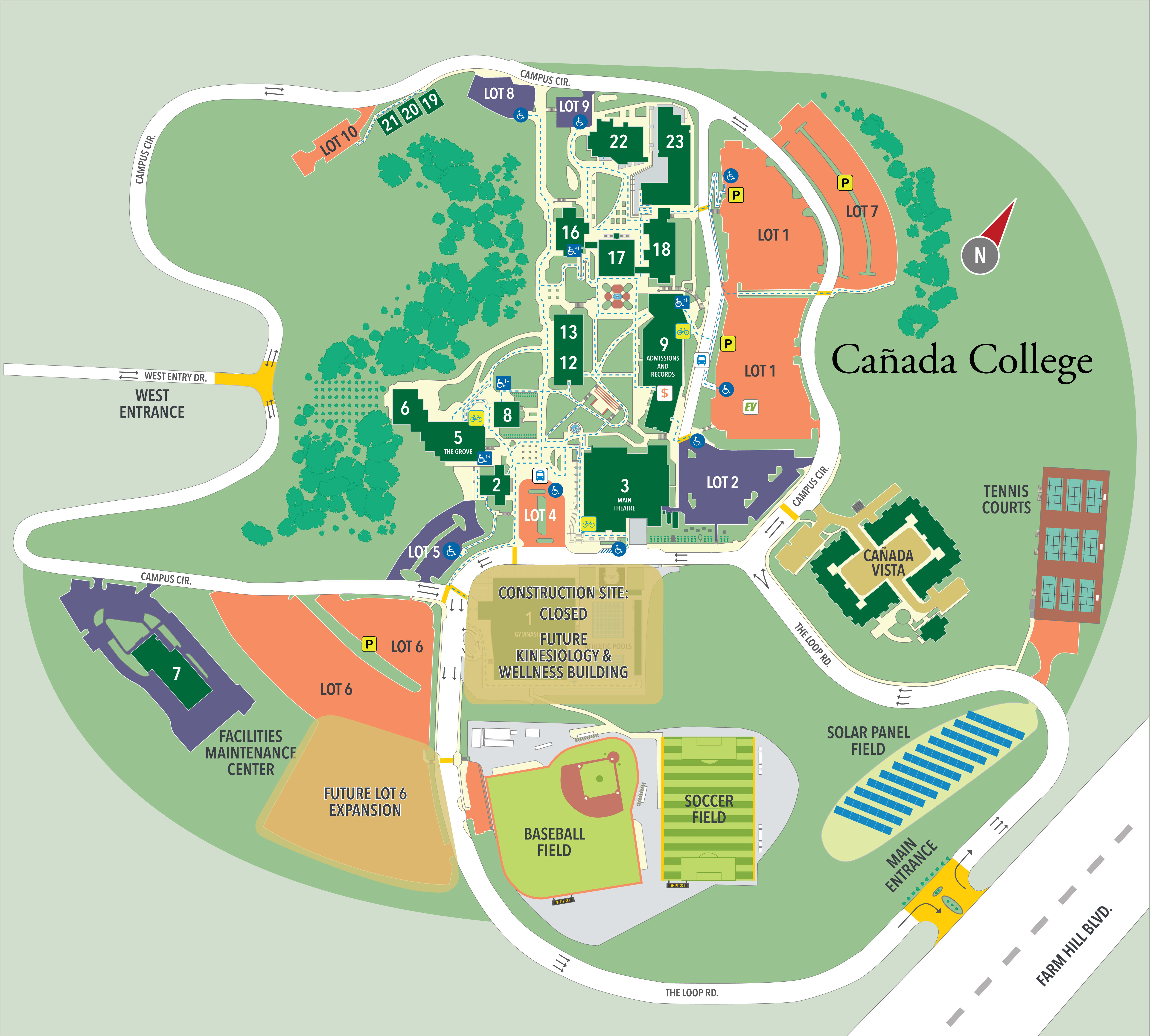 Canada Colledge Map Map and Directory | About Cañada | Cañada College