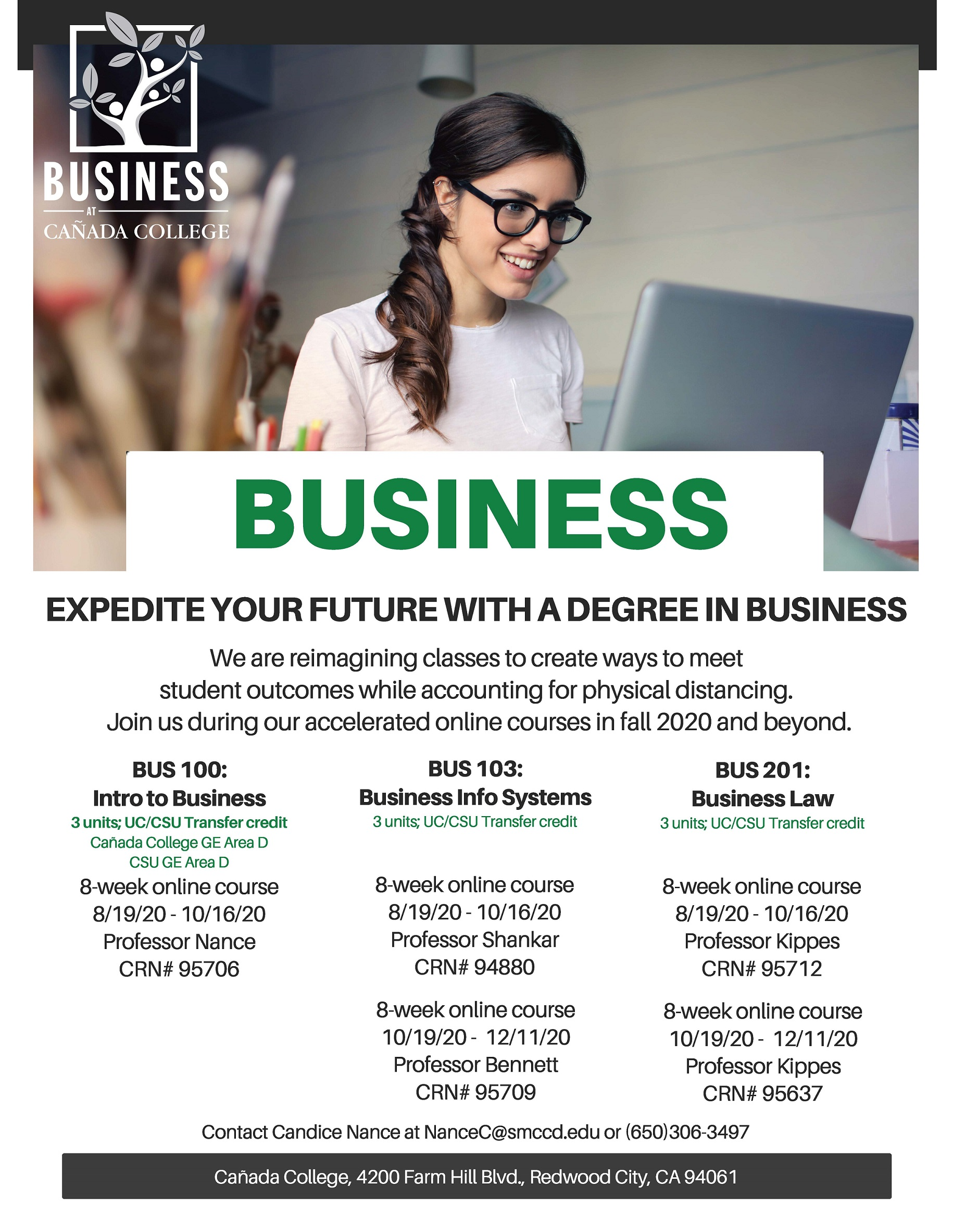 Flyer for online accelerated business courses in the fall of 2020