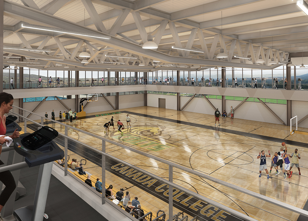 Rendering of indoor basketball game in progress