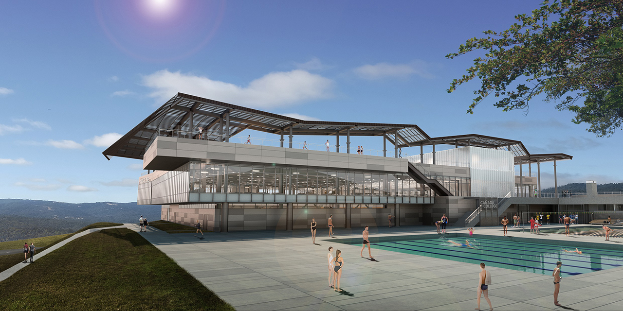 Rendering of pool area with building seen in background