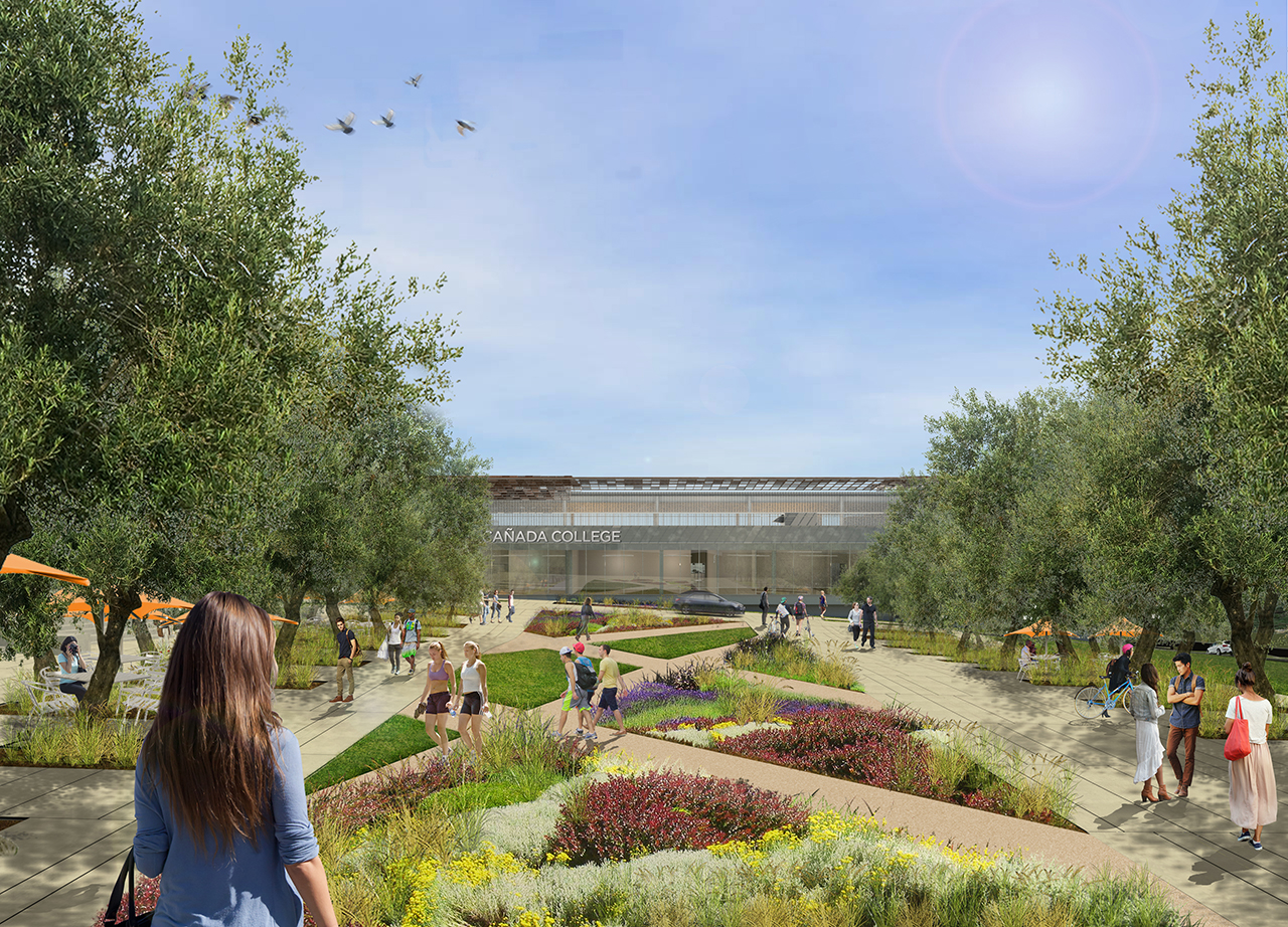 Rendering of exterior view from pathway featuring new landscaping