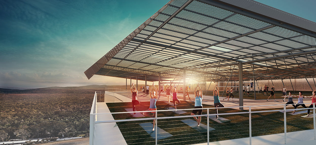 Rendering of individuals practicing rooftop yoga