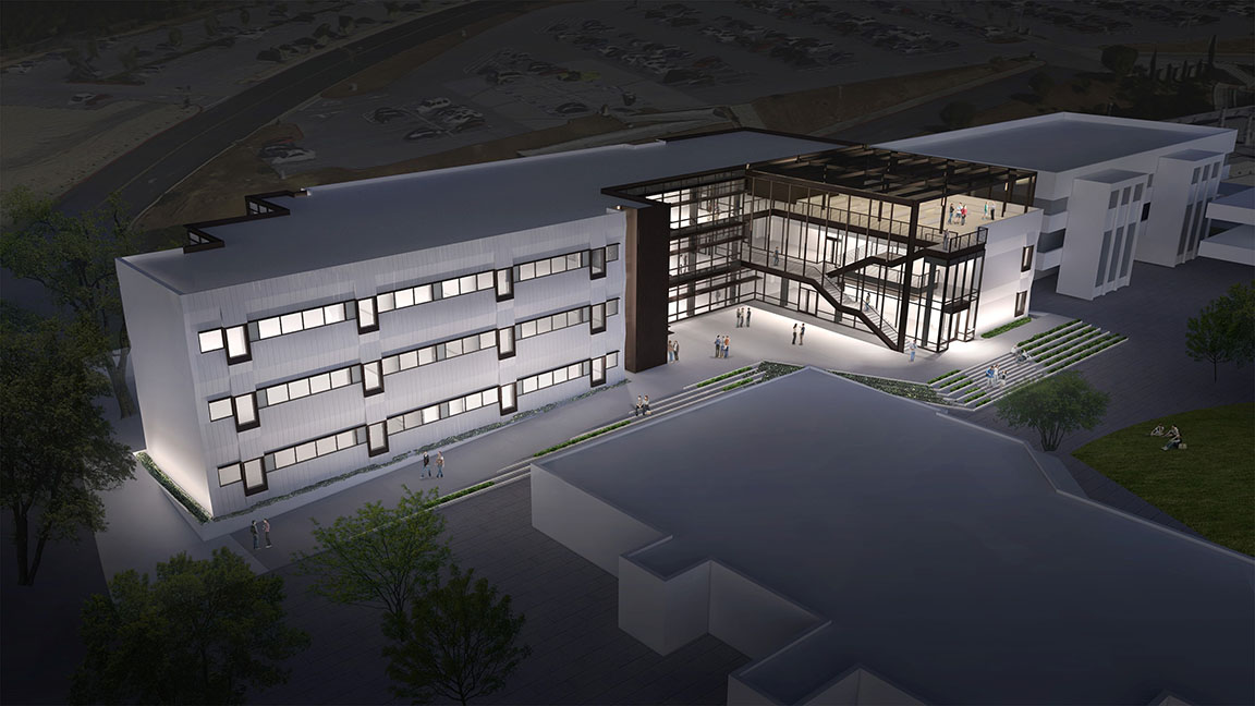Exterior rendering of Math and Science Technology Building at night featuring lighting