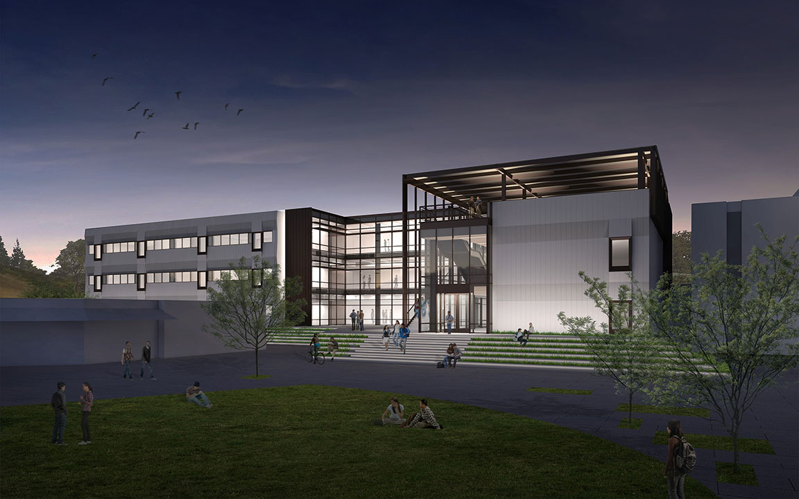Exterior rendering of Math and Science Building at night featuring lighting and students outside
