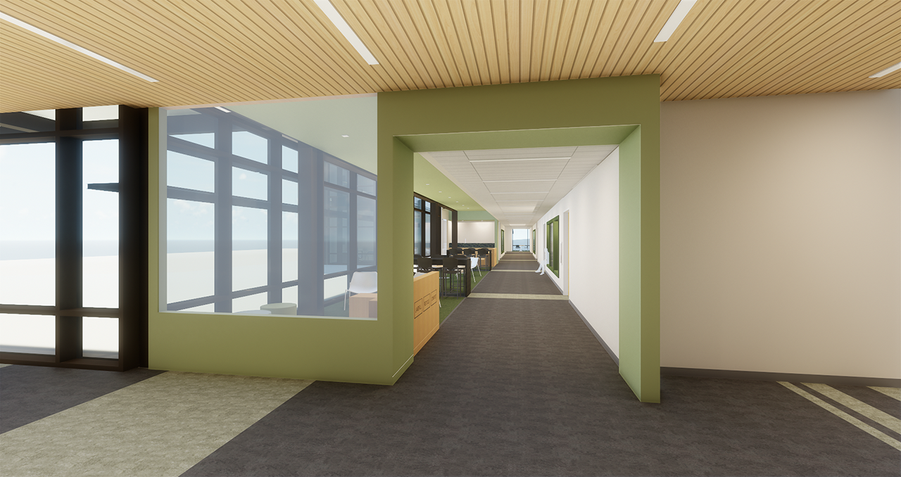 Interior rendering of new Math and Science Technology building hallway view