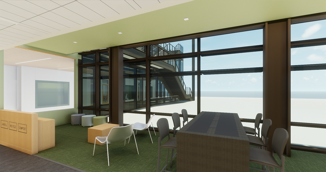 Interior rendering of Math and Science building with table, chairs placed by floor to ceiling window