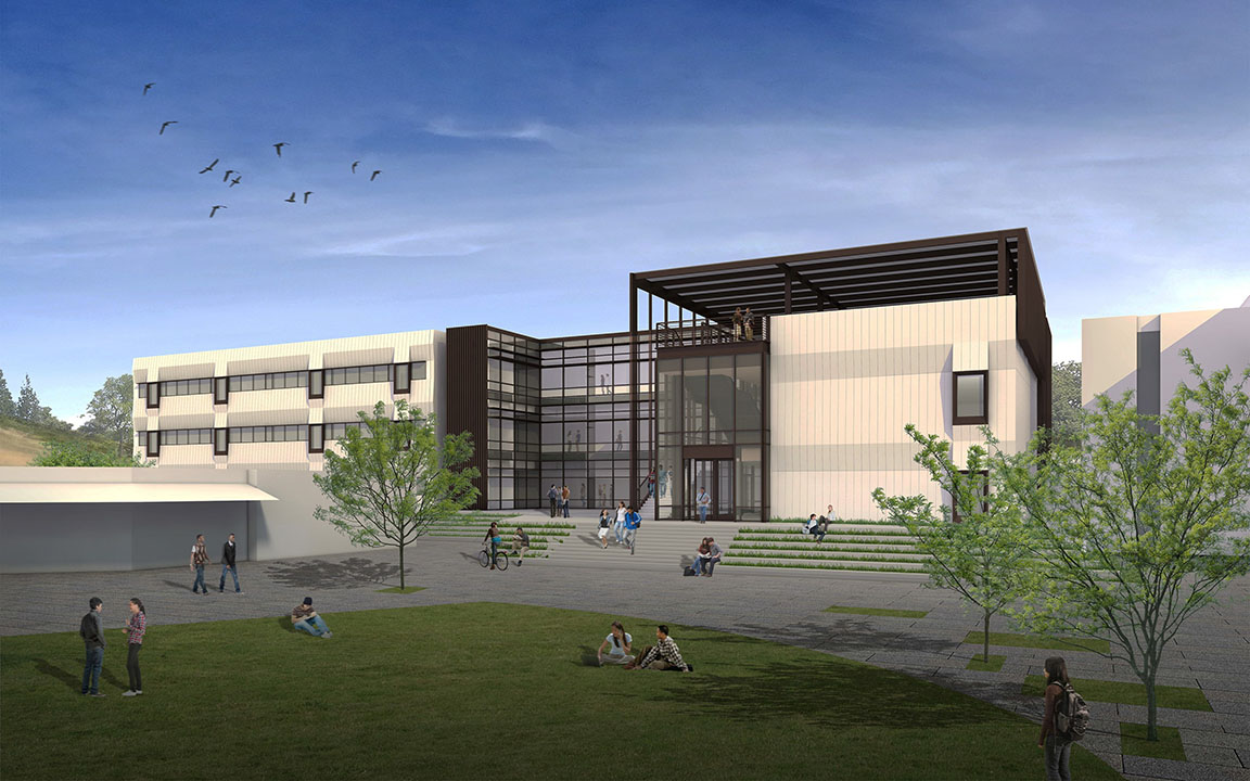 Exterior rendering of Math and Science Technology Building