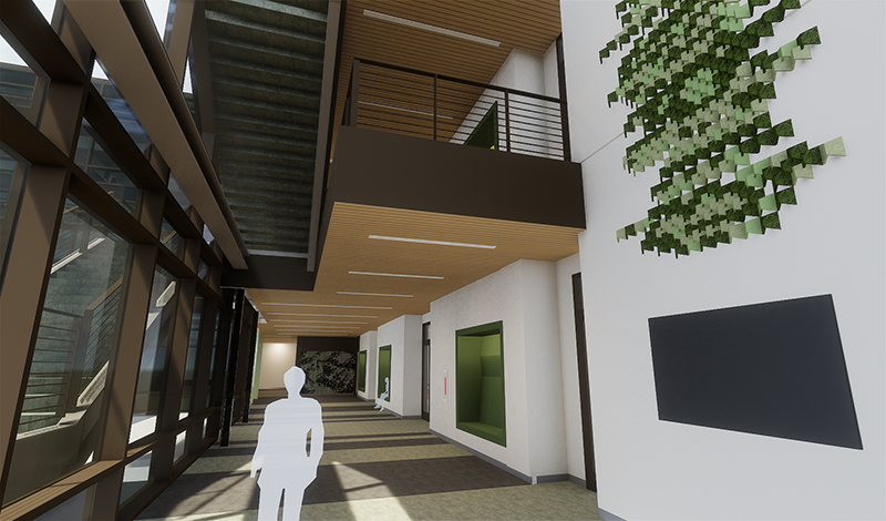 Interior rendering of Math and Science Technology Building at bottom floor featuring staircase