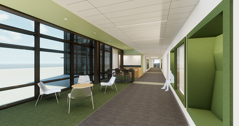 Additional interior rendering of table and chairs featuring floor to ceiling window and student seated on bench