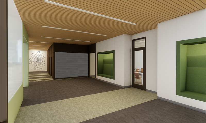 Interior rendering of niche benches featuring glass door leading to classroom