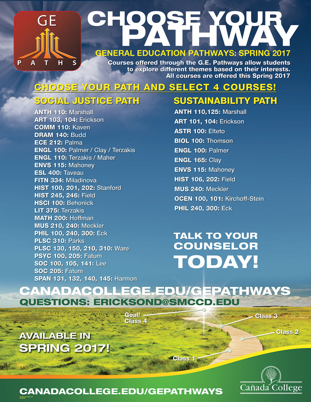 GE Pathways Poster for Fall 2016 Classes